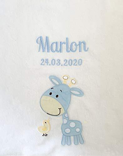 Babydecke bestickt mit Name und Geburtsdatum/kuschelig weich / 1A Qualität (Weiss/Blau GIRAFFE)