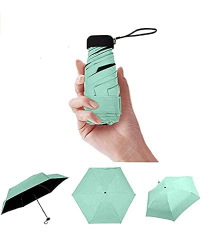 ZLYY Paraguas portátil de viaje para niños, mujeres, hombres, ultraligero, mini paraguas compacto – resistente al viento, sol y lluvia, paraguas exterior, protección UV para niños y niñas, verde
