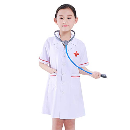 Doctor Kids Fancy Dress ER Hospital Surgeon Dr. Uniforme Para Nios, Disfraz, Disfraz De Doctor, Juego De Disfraces Para Nios Doctor Juego De Rol Traje De Fantasa, White Doctor Kit