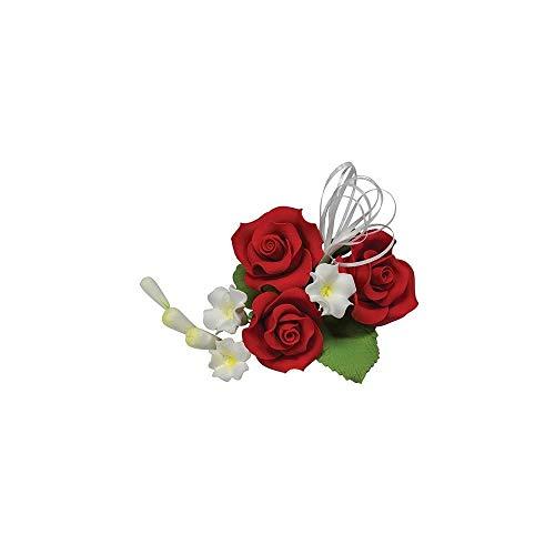 Decoración para tarta de boda con diseño de rosas rojas