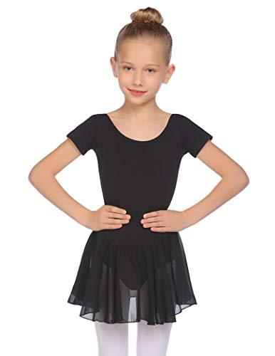 Balancora Vestido de ballet para niña, manga corta, algodón, maillot de ballet, vestido de danza, con falda tutú, 2-11 años, 110-160, Negro , 160