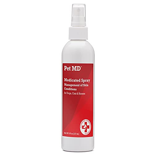 Pet MD Hot Spot Treatment for Dogs - Medicated Spray for Dogs, Cats, and Horses with Chlorhexidine, Ketoconazole, Essential Fatty Acids, Aloe and Vitamin E - 8 oz