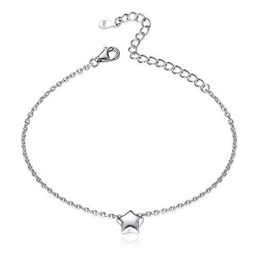 ChicSilver Estrella de Cielo Cadena Delgada Extensible para Muñecas Pulseras Finas Plata de Ley 925 Oro Blanco Joyería Moderna Encantadora de Mujeres y Muchachas