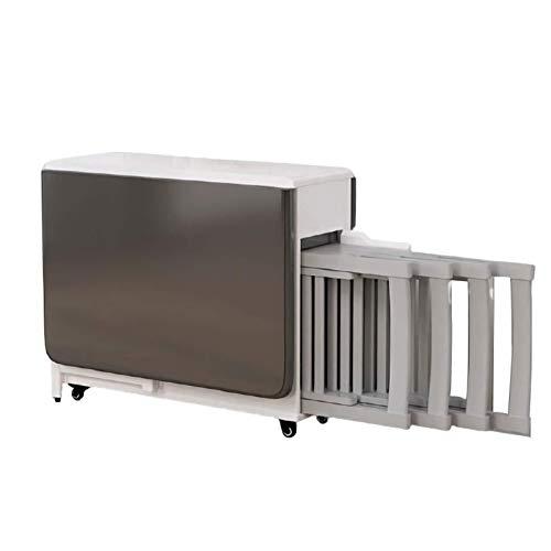 YUNLILI Conveniente Juego de Comedor de 5 Piezas para 4, Mesa de Comedor de Cocina Plegable de Altura con 4 sillas, cajón, estantes de Almacenamiento, Ruedas con Cerradura multifunción