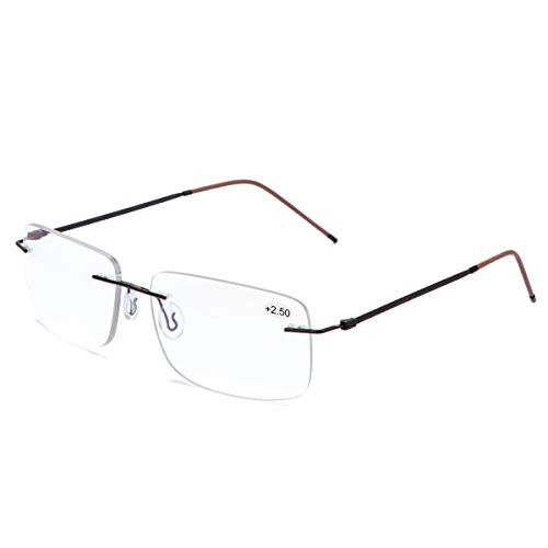 Randlose Progressive Multifokal-Lesebrille für Frauen Männer Titanlegierung Federscharnie Multifokus-Lesegerät Fokus Glaser Intelligenter Zoom Nah Fern Dual-Use-Brillen Blaulichtfilter Computer Brille