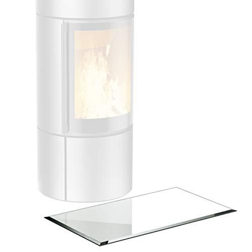 bijon® Glasplatte Kaminofen inkl. Silikon-Dichtlippe | Rechteck Funkenschutz-Platte mit Glas mit Facettenschliff | Kaminschutz mit ESG Sicherheitsglas | mit Dichtlippe | 50 x 80 cm | 6mm