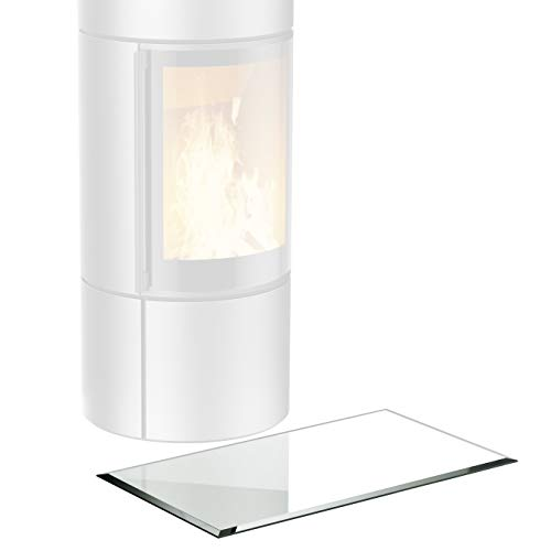bijon® Glasplatte Kaminofen inkl. Silikon-Dichtlippe | Rechteck Funkenschutz-Platte mit Glas mit Facettenschliff | Kaminschutz mit ESG Sicherheitsglas | mit Dichtlippe | 40 x 80 cm | 6mm