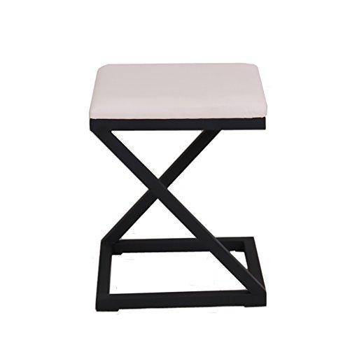 NYDZDM Chaise en Cuir Tabouret Square Iron Art Pouf Nordique Pouf Dressing Tabouret Banc de canapé Canapé Tabouret Magasin de vêtements Fitting Room (Couleur : Blanc)