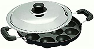 Shradha Trading Non Stick Appam Patra, Appam Maker, 12 Pits Appam Maker With Lid, 1 Spatula, 1 Scrubber
