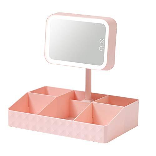 Sets et coffrets Miroir Multifonctionnel De Maquillage De Boîte De Rangement Cosmétique avec La Coiffeuse D'étudiant De Boîte De Rangement De La Lumière LED (Color : Pink, Size : 32 * 20 * 32cm)