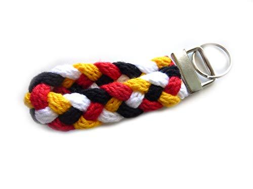 Schlüsselanhänger Schlüsselband in weiß schwarz rot gelb (gold) aus Strickliesel-Schnüren
