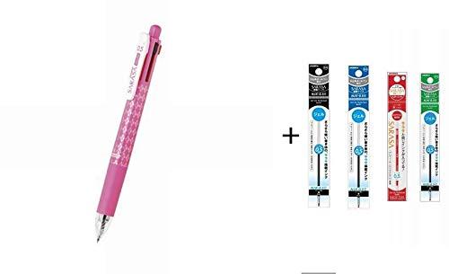 Zebra Multi Function Sarasa 4{S Black/Red/Blue/Green Ink 0.5mm Ballpoint Pen 0.5mm Mechanical Pencil Pink Body + NJK-0.5 Gel Ink Multi Pen Refill - 0.5 mm - Black/Red/Blue/Green