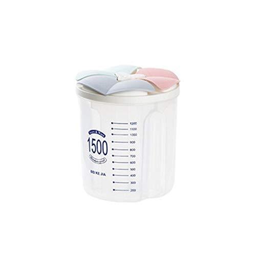 Botes de cocina Casa cocina alimentos resistentes a humedad latas separado, sellado y transparente de almacenamiento de grano botella seca recipiente cereales 2/3/4 cuadrícula Conjunto de bote