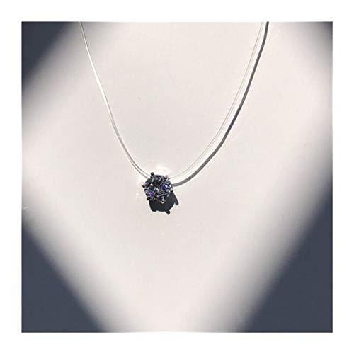 Perlas de Cristal Collar Cuadrado de la Manera de la Personalidad de imitación del Zircon Invisible Pesca Transparente Collar de Las Mujeres Línea Accesorios (Metal Color : 3 6Claw 8mm)