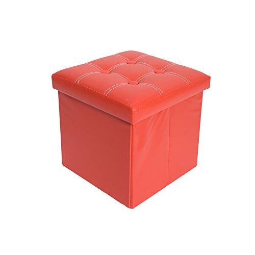Mobili Rebecca® Sitzbank Sitzhocker Aufbewahrungsbox Kunstleder Rot mit gepolsterter Sitzfläche Wohnzimmer Kinderzimmer 38 x 38 x 38 cm (Cod. RE4916)