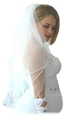 Unbekannt Schleier Brautschleier 3 Lagen mit Kamm Perlen 3-lagig Hochzeit Braut NEU (Weiß)