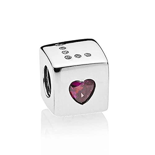 LILANG Pulsera de joyería Pandora 925, Accesorios para Amantes del Amor Cuadrado Natural, Brazalete de Cristal para el día de San Valentín, fabricación de amuletos para Mujeres, Regalos DIY
