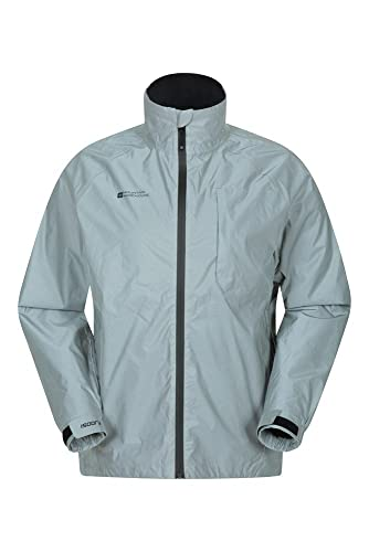 Mountain Warehouse Adrenaline Iso Viz Herren-Sportjacke - Fahrradjacke, reflektierende, wasserdichte und atmungsaktive Unisex-Outdoor-Regenjacke zum Laufen und Wandern Silber 3XL