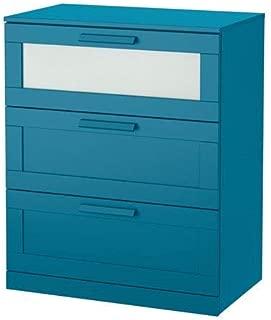 IKEA BRIMNES 3-Drawer Chest, Dark Green-Blue, Frosted Glass Size: 30 3/4x37 3/8