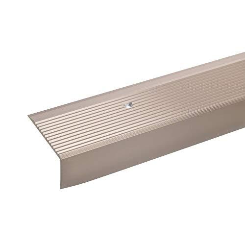 acerto 34011 Aluminium Treppenwinkel-Profil - 100cm 28x50mm, bronze hell * Rutschhemmend * Robust * Leichte Montage   Treppenkanten-Profil, Treppenstufen-Profil aus Alu   Gelochtes Stufenkanten-Profil
