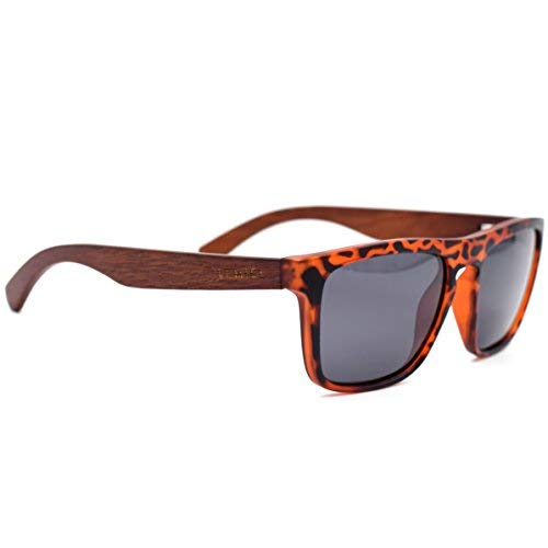 LEMIEL Premium Holz Sonnenbrille - Birnbaumholz - Holzbrille mit polarisierten UV-Schutz Gläsern - Hochwertige Holz-Sonnenbrille - Nachhaltige Sonnenbrille mit Etui aus edlem Bambusholz - Damen Herren