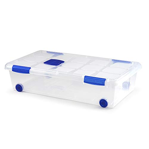 PLASTIC FORTE, Caja de almacenamiento, TRANSPARENTE, 30 Litros, con ruedas