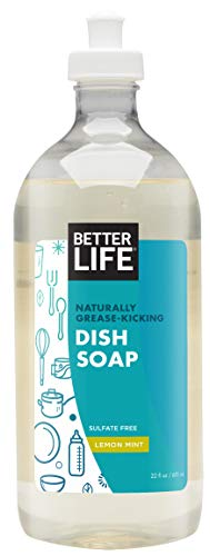 Better Life Tough on Grease & Gentle on Hands Sulfate Free Dish Soap Lemon Mint, 22 Fl Oz