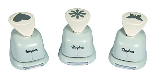 Rayher Hobby 69105000 Motivstanzer Set, Herz, Blume, Schmetterling, ø 2,54 cm- 1 Zoll, geeignet für Papier/Karton bis zu 200g/m²