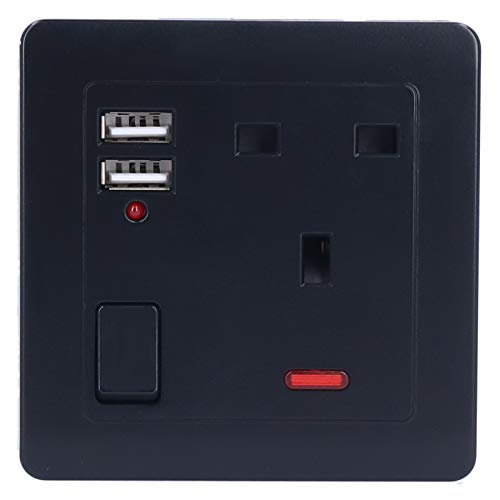 Prise murale, chargeur mural USB largement utilisé, noir multi-protégé pour la maison
