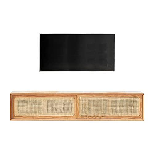 Mueble De TV De Madera Maciza, Consola De Soporte De TV Flotante, Mueble De Almacenamiento Colgante De Ratán, Adecuado para Sala De Estar/Dormitorio/Cocina (Color : Beige)