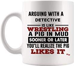 Queen54ferna Jokes for Detective Taza de café detectives hombres y mujeres tazas True Detectingn policía investigador regalo de cumpleaños