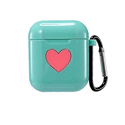 YepYes 1pcs Ricarica Box Cuore di Apple Bluetooth Headset Wireless Charging Box Auricolare Bagagli coperchi delle scatole per (Verde)