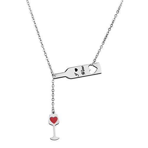 Ensianth Wine Jewelry for Women, Love Heart Wine Cup Lariat Y Necklace, Stainless Steel Wine Jewelry Gift for Wine Lovers (Y-necklace)