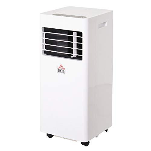 HOMCOM Aire Acondicionado Portátil 7000Btu 3 en 1 Enfriador Humidificador y Ventilador Potencia 765W con Ruedas Temporizador LED y Mando a Distancia Silencioso 30,5x32,8x67,8 cm Blanco