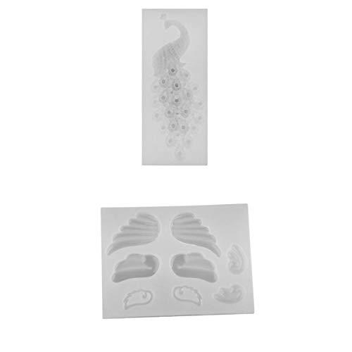 kowaku 2 Juegos de Pavo Real Y Alas de ángel Molde de Silicona Molde de Resina Epoxi de Cristal Fundición