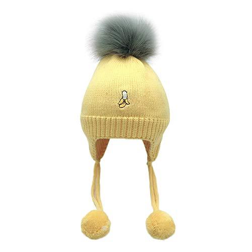 Transer ♥ Infant Bébé Beanie Fille Cap Coton Tricoté Bonnets De Laine Chaud Hairball Earmuffs Fruit Imprimer Enfants Chapeaux (Jaune)