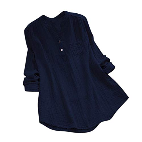 LEXUPE Women Stand Collar Long Sleeve Casual Loose Tunic Tops T Shirt Blouse (S, Navy)