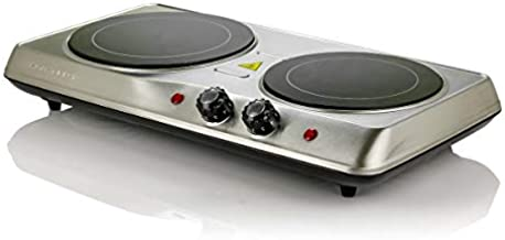 Ovente Electric Glass Infrared Burner 6.5 & 7 Inch Double Hot Plate 1700 Watt Portable Compact Indoor Kitchen Cooktop with Adjustable Temperature Control & Fire Resistant Metal Housing, Silver BGI102S