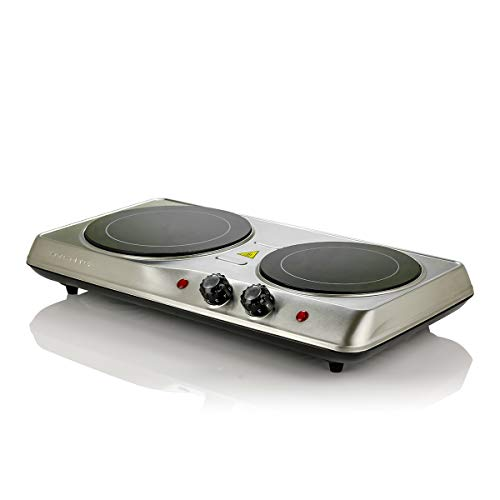 Ovente Electric Glass Infrared Burner 7 Inch Double Hot Plate with...
