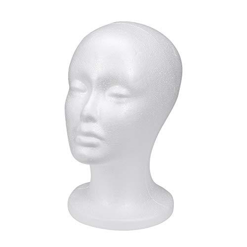 Lurrose Schaufensterpuppe Kopf mit weiblichem Gesicht Modell Display Stand Modell Perücke Hüte Halter (weiß)