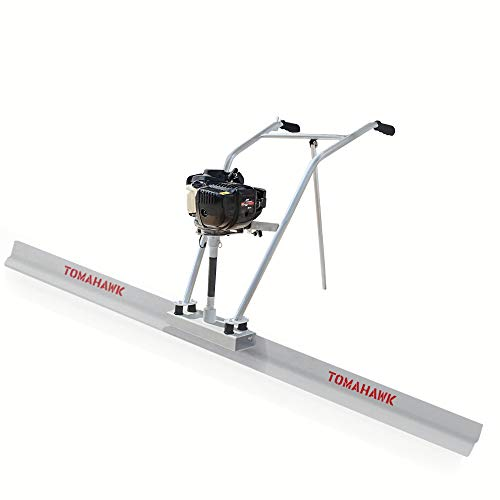 TOMAHAWK 37.7cc Gas Concrete Power Screed Cement Finishing Vibrating Motor with 12ft Aluminum Board Straight Edge Bar Vibra Finisher Set