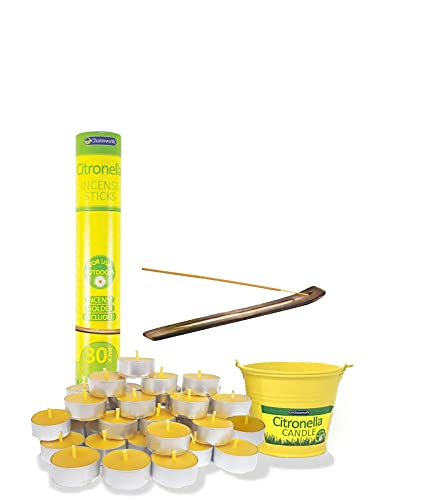 Citronella Candles Outdoors Set For Garden, Patio, Camping, Barbecue, Summer Party, Yoga - Insect Repellent Bucket Candle x 1, Incense x 30 and Tealights x 25 - Mosquito Repellent