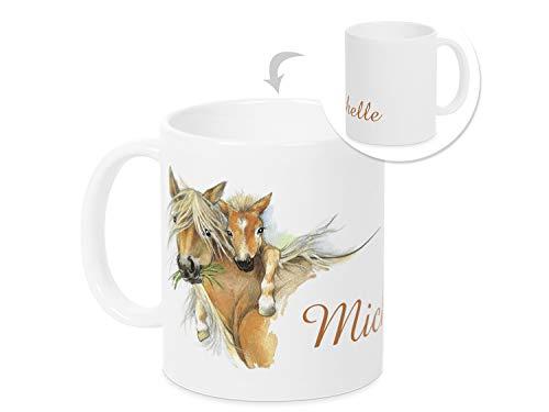 GRAZDesign Tasse Pferd mit Namen - Pferd und Fohlen - Pferdetasse für Mädchen - Pferdeliebhaber - zum Geburtstag Taufe Schulanfang