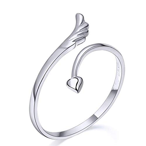 Idiytip Women'S Ring Sterling Silver Heart Shaped Love Angel Wings Adjustable Open Ring Wedding Anniversary Jewellery Gift