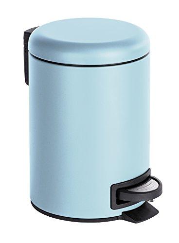 WENKO Kosmetik Treteimer Leman, 3 Liter, Badezimmer-Mülleimer, kleiner Abfalleimer mit herausnehmbaren Einsatz, aus lackiertem Stahl, 17 x 25 x 22,5 cm, Hellblau matt