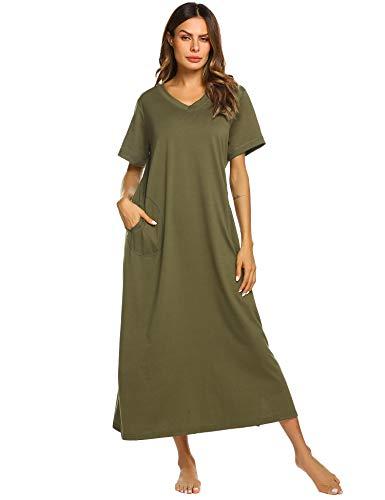 Ekouaer Women's Long Nightgown Loungewear Nightshirt Sleepwear with Pockets Olive Green