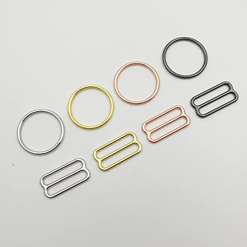 Envío gratis 200 unids/lote Plata/Oro/Oro rosa/Anillos y deslizadores de sujetador negro Gun-Bélgica, 6 mm, Oro claro