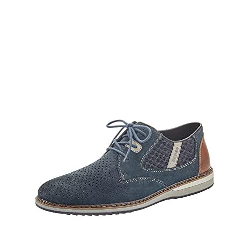 Rieker Herren Sneaker 16826, Männer Schnürhalbschuhe,Men's,Men,Schnuerschuhe,Schnuerer,straßenschuhe,Strassenschuhe,Schnuerung,blau (14),43 EU / 9 UK