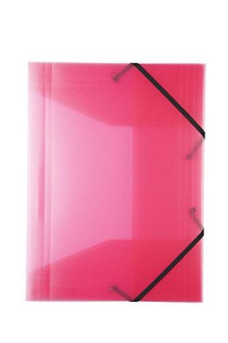 Idena 213310 - Gummizugmappe für DIN A4, aus Polypropylen, transluzent rosa, 1 Stück