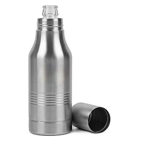 Tenbroman Bottiglia refrigerante, Bottiglia di Birra in Acciaio Inossidabile per Birra in Vetro da 12 Once Bottiglia coozie Portatile isolata per la Festa all'aperto a casa, 1 pz (Silver)